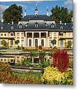 Formal Garden In Front Of A Castle Metal Print
