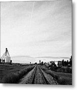 former canadian pacific railway now great sandhills railway through leader Saskatchewan Canada Metal Print
