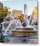 Fountain In The Pink Metal Print