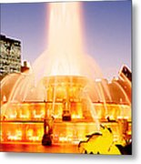 Fountain Lit Up At Dusk, Buckingham Metal Print