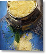 Fresh Corn Meal Metal Print by Mythja  Photography