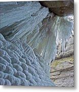 Frozen Waterfall At Maligne Canyon Metal Print