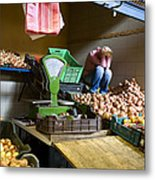 Fruit Stand Woman Metal Print