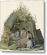 Fuegans In Their Hut, 18th Century Metal Print
