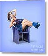 Full-length Portrait. Lovely Woman In Denim Dress Metal Print