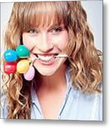 Fun Party Girl With Balloons In Mouth Metal Print