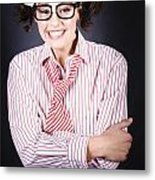Funny Female Business Nerd With Big Geeky Smile Metal Print