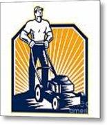 Gardener Mowing Lawn Mower Retro Metal Print