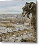Gargoyle Overlooking Paris Metal Print