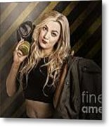 Gas Mask Pinup Girl In Nuclear Danger Zone Metal Print