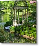 Gazebo By Lake Metal Print