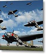 German Heinkel Bombers Taking Metal Print