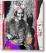 Geronimo With Pistol Ft. Sill Oklahoma Collage Circa 1910-2012 Metal Print