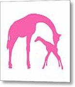 Giraffe In Pink And White Metal Print