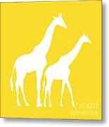 Giraffes In Golden And White Metal Print