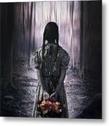 Girl In The Woods Metal Print