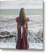 Girl On Beach Metal Print