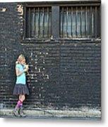 Girl Standing Next To Brick Wall Metal Print