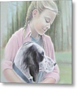 Girl With Her Dog Metal Print