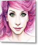 Girl With Magenta Hair Metal Print by Olga Shvartsur