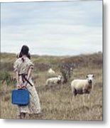 Girl With Sheeps Metal Print