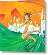 Girls Can Surf Metal Print