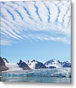 Glaciers Tumble Into The Sea In The Metal Print