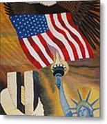 God Bless America Hand Embroidery Metal Print