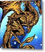 Gold Metal Dragon Metal Print