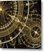 Golden Abstract Circle Fractal Metal Print