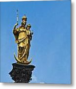 Golden Statue Of The Virgin Mary In Munich Germany Metal Print