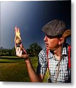 Golf Ball Flames Metal Print