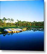 Golf Course At The Lakeside, Regatta Metal Print