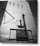 grain elevator doors and filling pipe leader Saskatchewan Canada Metal Print
