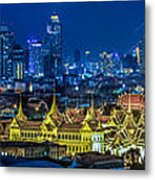 Grand Palace At Twilight In Bangkok Between Loykratong Festival Metal Print