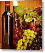 Grape Wine Still Life Metal Print by Anna Om