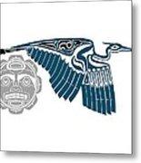 Great Blue Heron With Moon Metal Print