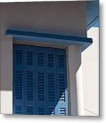 Greek Blue Window Shutters Metal Print
