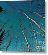 Green Swirls Of Northern Lights Over Boreal Forest Metal Print