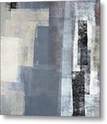 Blocked - Grey And Beige Abstract Art Painting Metal Print