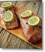 Grilled Salmon Cooked On A Cedar Plank Metal Print