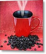 Grungy Red Cup Of Coffee Metal Print