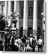 guided tour group outside the former national congress building Santiago Chile Metal Print