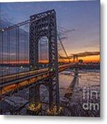 Gw Bridge Car Light Trails  Metal Print