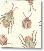 Hand Drawn Beetles Seamless Pattern Metal Print