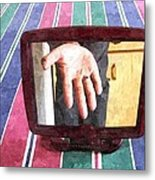 Hand In The Mirror Metal Print