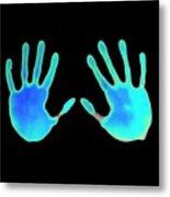 Hand Prints On Thermochromic Paper Metal Print