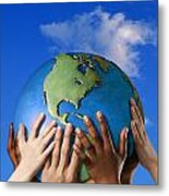 Hands On A Globe Metal Print