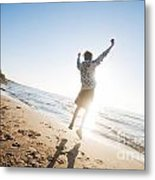 Happiness In The Beach Scenery Metal Print
