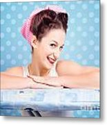 Happy 60s Pinup Housewife On Blue Ironing Board Metal Print